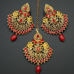 Faria Gold Diamante/ Red Beads Earring Tikka Set - Gold
