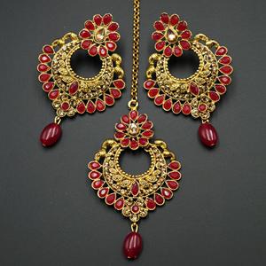 Lana Gold Diamante/Red Beads Earring Tikka Set - Gold