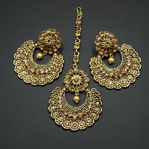 Ipsa  Gold Diamante Earring Tikka Set - Gold