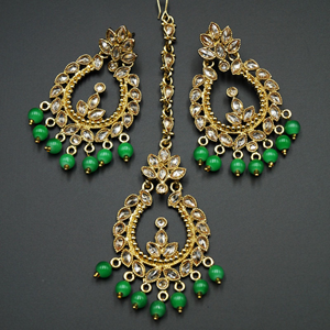 Esha Green/Gold Polki Stone Earring Tikka Set - Gold