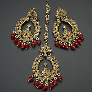Esha Maroon/Gold Polki Stone Earring Tikka Set - Gold