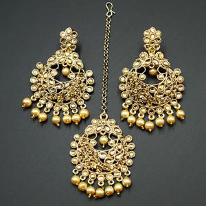 Kirti Gold Diamante Earring Tikka - Gold