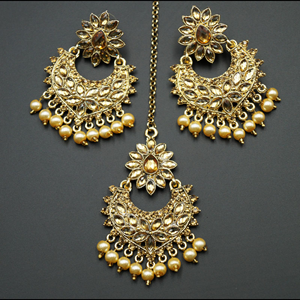 Dipti Gold Diamante Earring Tikka - Gold