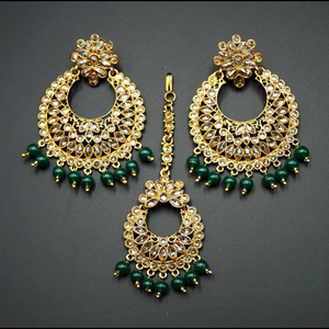 Saira- Gold Polki Stone/Green Beads  Earring Tikka Set - Antique Gold