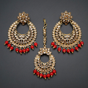 Saira- Gold Polki Stone/Red Beads Earring Tikka Set - Antique Gold