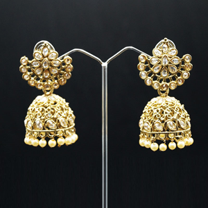 Manya Polki Stone and Pearl Jhumka- Antique Gold