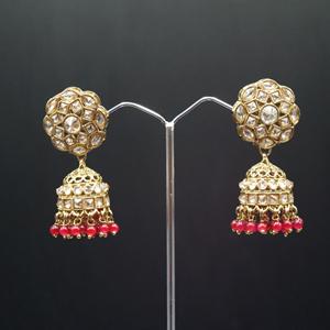 Gunj Polki Stone /Dark Pink Beads Jhumka- Antique Gold
