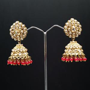 Gunjan Polki Stone /Dark Pink Beads Jhumka- Antique Gold