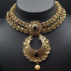 Talin Black and Gold Choker Necklace Set - Gold