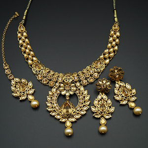Farie- Gold Diamante Choker Necklace Set - Gold