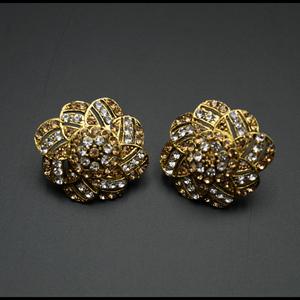 Gold/White Diamante Earrings - Gold