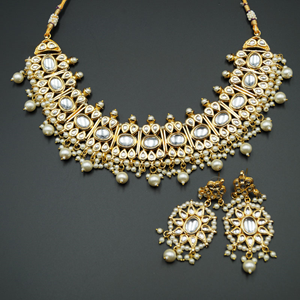Vanya White Stone Kundan Necklace Set - Gold