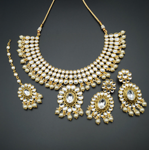 Rita White Stone Kundan Necklace Set - Gold