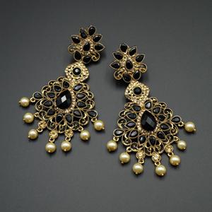 Gouri Black Kundan /Gold Diamante Earrings - Gold