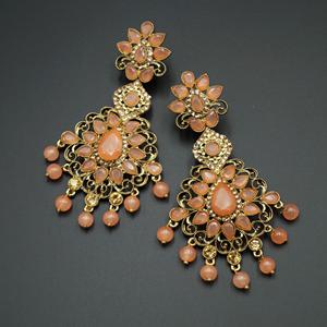 Gouri Peach Kundan /Gold Diamante Earrings - Gold