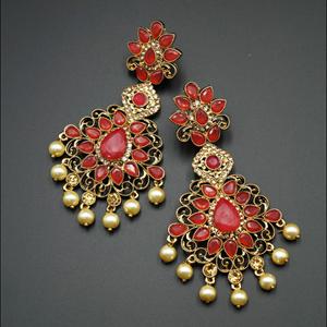 Gouri Red Kundan /Gold Diamante Earrings - Gold