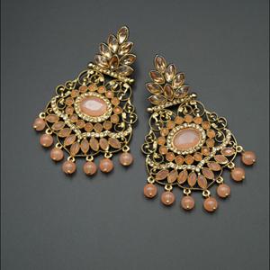 Pari Peach Kundan / Diamante Earrings - Gold