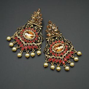 Pari Pink Kundan / Diamante Earrings - Gold
