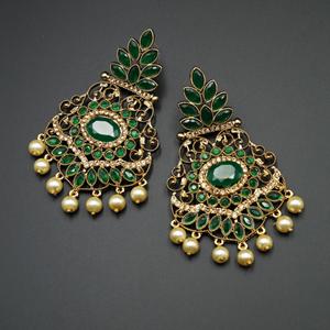 Pari Green Kundan / Diamante Earrings - Gold