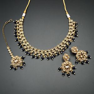 Tarz Gold Polki Stone/Midnight Blue Bead Necklace set - Antique Gold