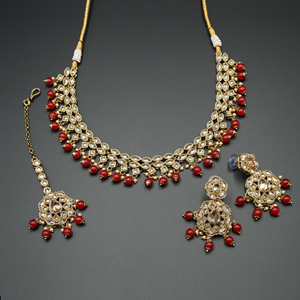 Tarz Gold Polki Stone/Red Bead Necklace set - Antique Gold
