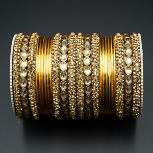 Jarn Gold Diamante & White Kundan Bangle Set - Gold