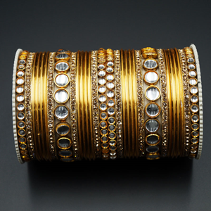 Naaj Gold Diamante & White Kundan Bangle Set - Gold