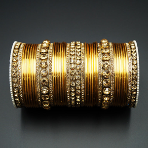 Zala Gold Diamante Bangle Set - Gold