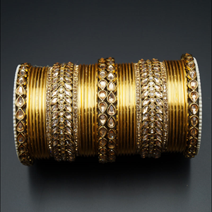 Vai Gold Polki Stone Bangle Set - Gold