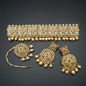 Yadvi Gold Polki Stone Choker Set - Antique Gold