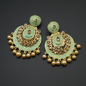 Giva  Pista Meenakari/Gold Polki Earrings - Gold