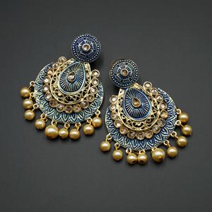 Giva  Blue  Meenakari/Gold Polki Earrings - Gold