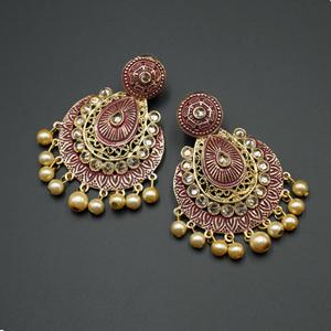 Giva  Maroon  Meenakari/Gold Polki Earrings - Gold
