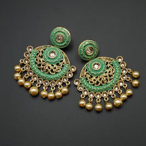 Kalka Green Meenakari/Gold Polki Earrings - Gold