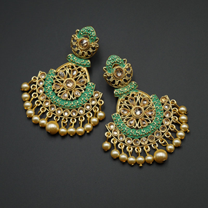 Lajna  Green Meenakari/Gold Polki Earrings - Gold