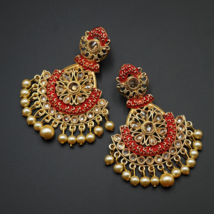 Lajna  Red  Meenakari/Gold Polki Earrings - Gold