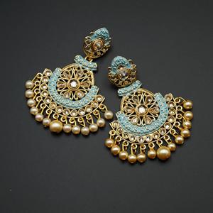 Lajna  Light Blue Meenakari/Gold Polki Earrings - Gold
