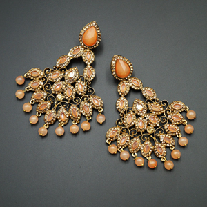 Nirala Peach Kundan / Gold Diamante Earrings - Gold