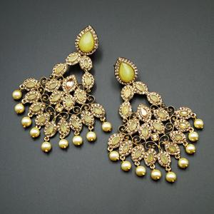 Nirala Yellow Kundan / Gold Diamante Earrings - Gold