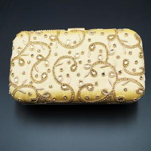 Devak Gold Kundan Clutch Bag