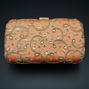 Devak  Peach Gold  Kundan Clutch Bag
