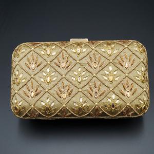 Reia Dark Gold  Kundan Clutch Bag