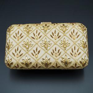 Reia Cream- Gold Kundan Clutch Bag