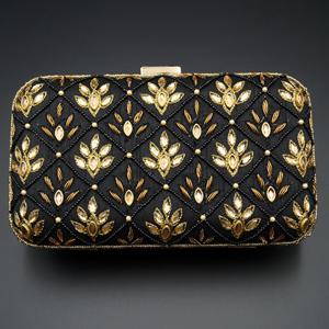 Reia Black - Gold Kundan Clutch Bag