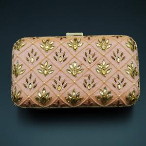 Reia Peach - Gold Kundan Clutch Bag