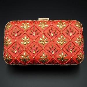 Reia  Red-Gold Kundan Clutch Bag