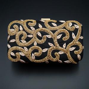 Tanvi Black - Gold Diamante Clutch Bag
