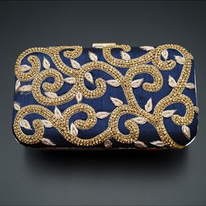 Tanvi  Blue Gold Diamante Clutch Bag