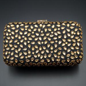 Khushi Black- Gold Kundan Clutch Bag