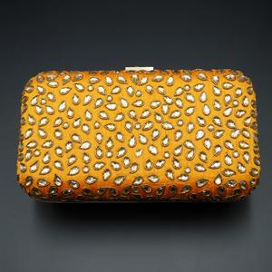 Khushi Orange - Gold Kundan Clutch Bag